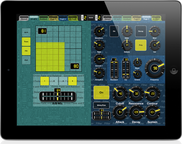 MIDI Designer on iPad in Peformance Mode