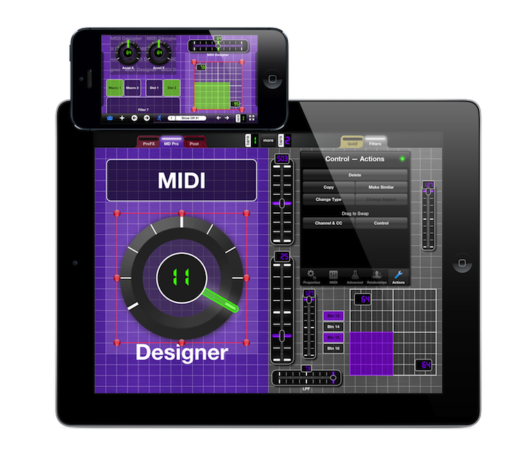 MIDI Designer Shown on iPad and iPhone