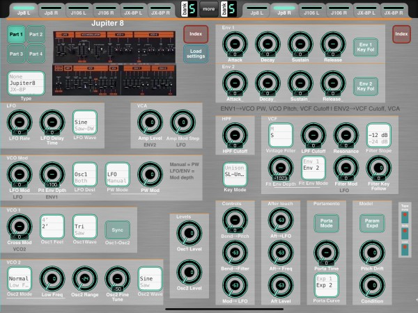 Jupiter 8 Editor - all controls in view, laid out close to original flow
