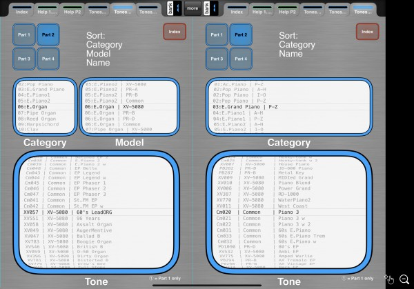 Tones pages: Category / Model / Name sort & Category / Name sort shown
