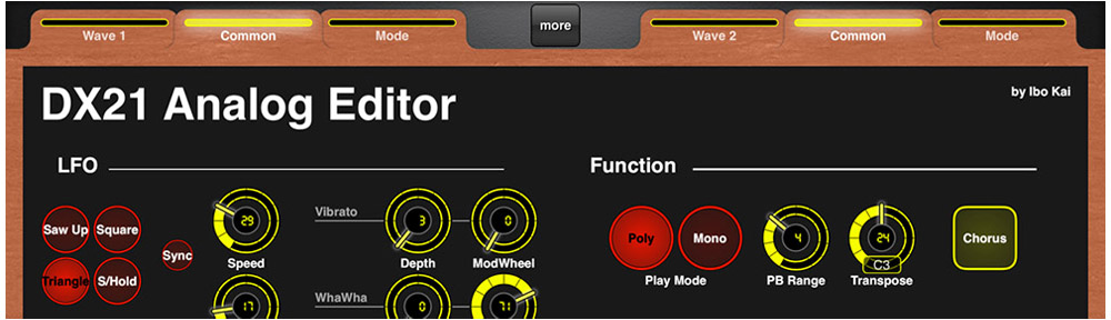 Yamaha DX21 Editor for MIDI Designer Pro 2 by Ibo Kai